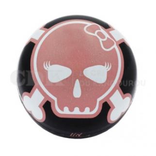 Bouchon de valve Tête de mort rose